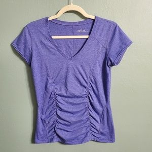 Zella Short Sleeve Ruched Athletic Vneck Shirt